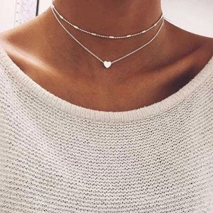 Jewelry - NWT Silver Heart Choker Necklace Double Chain